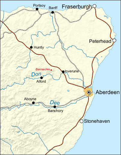 Map Of Aberdeenshire Aberdeenshire (Walkhighlands)