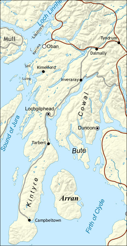Map Of Argyll And Bute Argyll (Walkhighlands) Map Of Argyll And Bute
