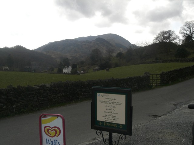 36 Three Shires Pub with todays walk in background.JPG