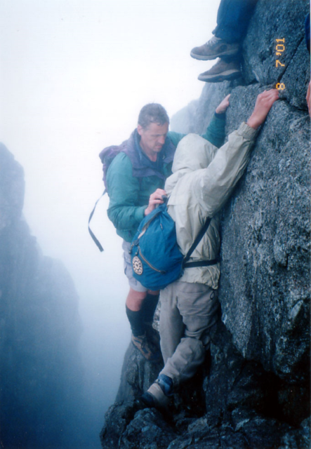 CMH and Nick Martin negotiating a rock step on Sgurr a' Mhadaidh - Copy.png