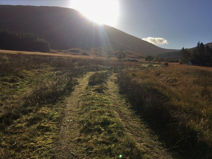 WR2 - track leading to cottage - Bhreac-Liath up left in shadow.jpg