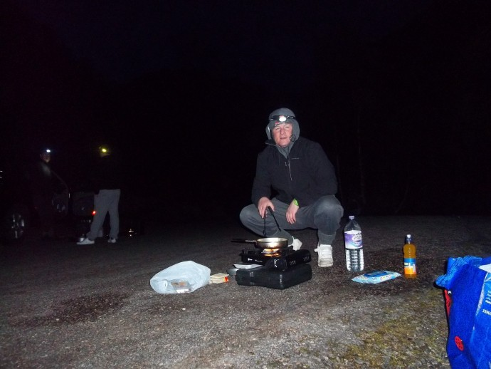 1. 4.30am and i'm cooking a fry up before we set off.JPG