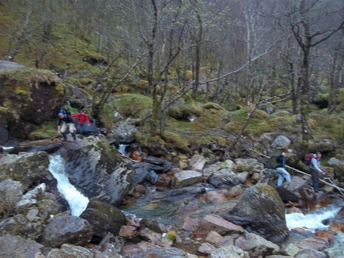 7. I was first to negotiate the rocks at the base of Steall Fall's so i had a wee laugh watching the other 4 attempting it.JPG