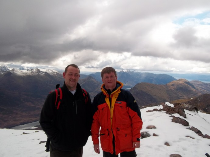 16. with David on the summit of Munro No.3 Am Bodach.JPG
