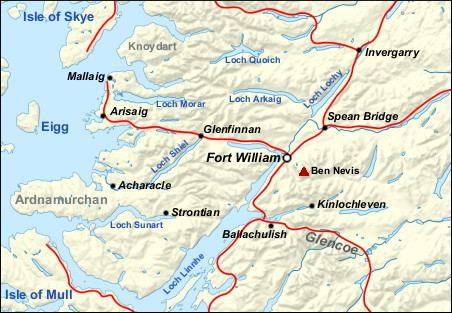 Fort Williams Scotland Map.Fort William Walkhighlands