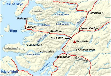Lochaber Scotland Map.Fort William Walkhighlands