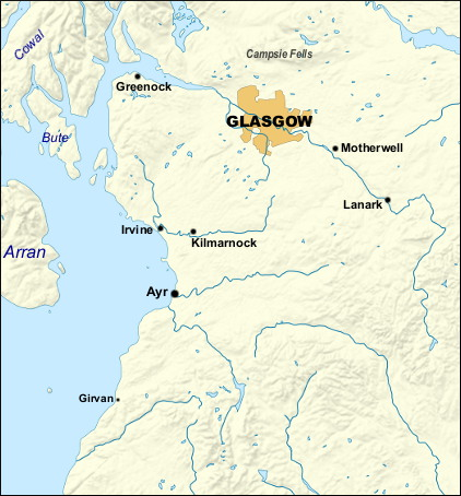 Glasgow region map