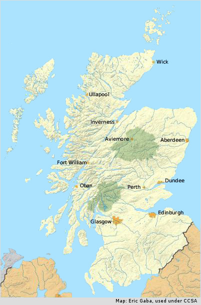 Scotland B&B map