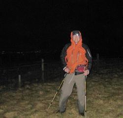 Fraser in the dark on Blairdenon Hill
