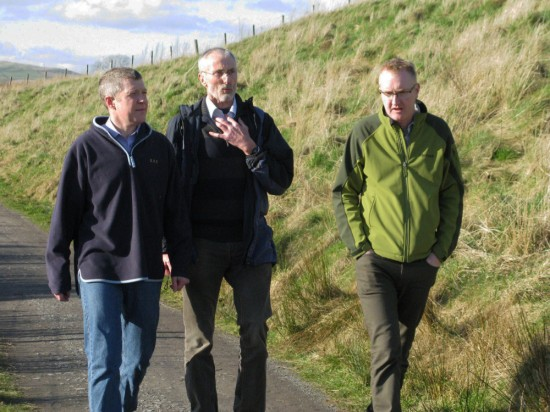 Dave (centre) discussing walking with Scottish Lib Dem leader Willie Rennie MSP and Benedict Southworth