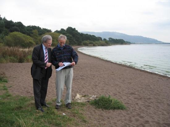Dave (right) meeting then transport Minister, Stewart Stevenson