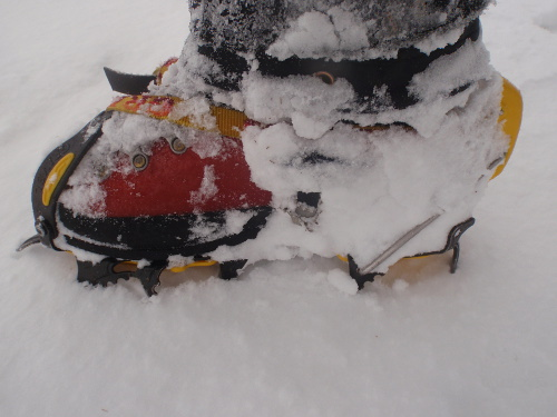 A winter boot with crampons attached