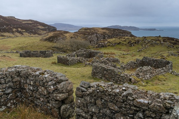 Part of the village of Crackaig, on the Northwest coast of Mull, likely to have been abandoned due to an outbreak of Typhoid.