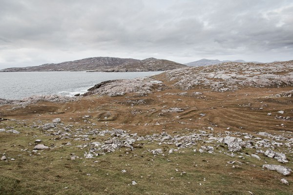 The headland of Huisinish, Isle of Harris, clearly showing the remains of agriculture. The fertile west coasts of Harris suffered particularly badly in the Clearances.