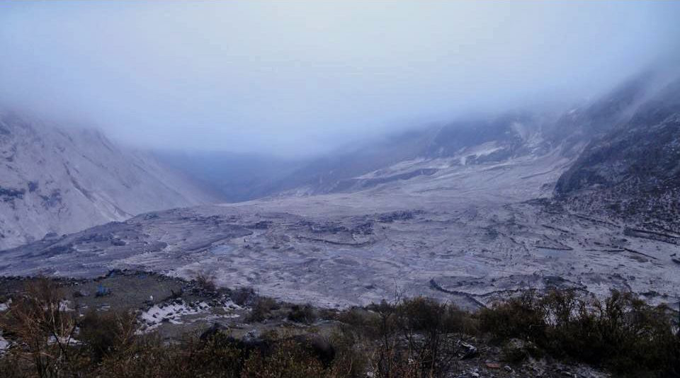 A before and after shot of Langtang village – a scene of utter devastation. Thanks to Anil Tamang for the image of Langtang after the earthquake, avalanche and mud flows.