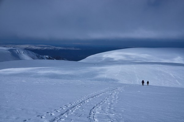Hillwalkers heading for Ben Macdui in winter