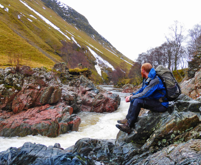 Contemplating life, the universe and everything rocky at Dail-an-eas in Glen Tilt.  A truly historic location.