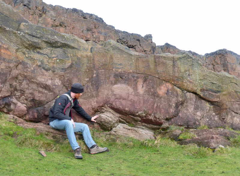 Hutton's Section in Edinburgh – a 320 million yr old snapshot of sandstone being ripped upwards as molten rock passed over it.