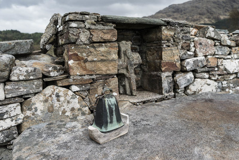 The bronze bell and altar on Eilean Fhianain