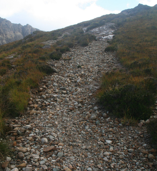 Eroded path before repair works