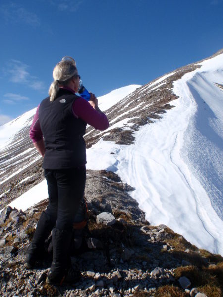 Heather Morning, MCofS Mountain Safety Advisor and late-lying snow on Beinn Eighe in Torridon this month.