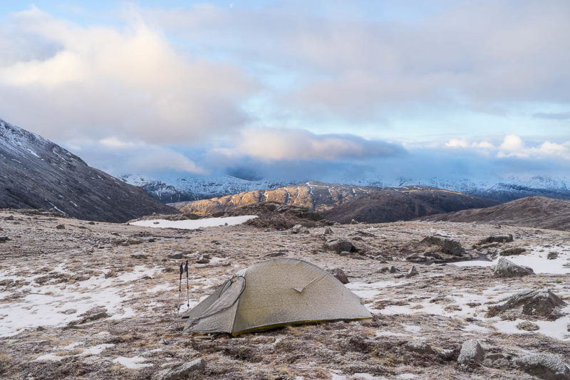 The perfect peace of first light on the Cruachan range, seen from a very frosty bealach camp in the Etive hills. It just wouldn't be the same with some used loo roll in the picture.