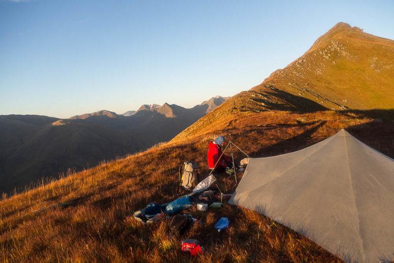 A 'dry' camp on the South Glen Shiel ridge, made possible with collapsible water carriers.
