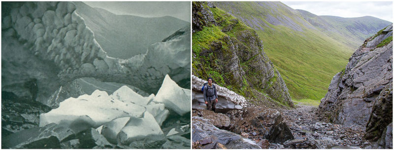 Easy Gully in September 1899 and August 2016. Former reproduced with kind permission of Scottish mountaineering club Journal.