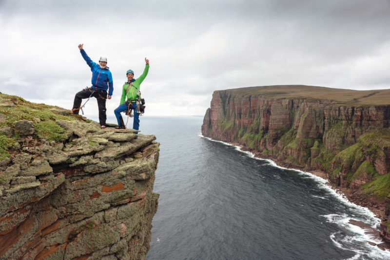 Chris and Leo Houlding at the Old Man Of Hoy. Photo © Dave Cuthbertson