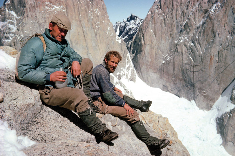 Chris with Don Whillans (left) in Patagonia. Credit: Chris Bonington Picture Library